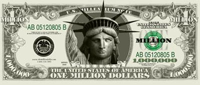 Blowout SALE: a Million Dollar Bill for ONLY $0.50 each